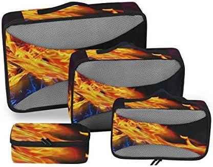 トラベル ポーチ 旅行用 収納ケース 4点セット トラベルポーチセット アレンジケース スーツケース整理 赤火の心 燃える火 収納ポーチ 大容量 軽量 衣類 トイレタリーバッグ インナーバッグ