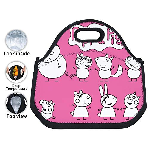 OUBAFun-Keep Neoprene Lunch Bag Pep-pa Pig Tote Handbag Lunchbox for School Work Office -