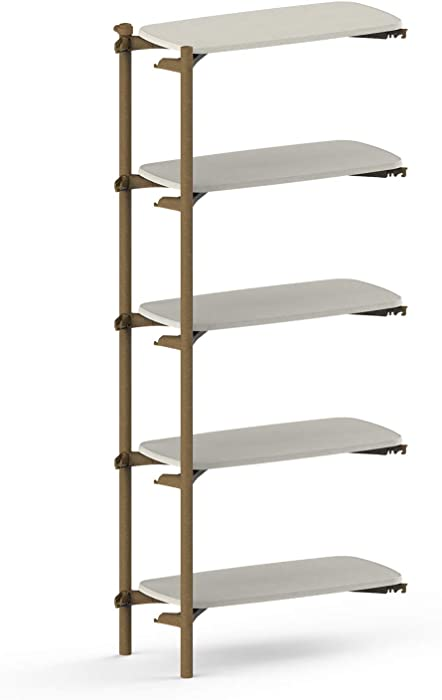 KETER FOM by Keter 5 Tier ADD ON Modern Bookshelf for Modular Shelving System Made with Sustainable Manufacturing – Perfect for Home Décor, Office Storage and Organization, White
