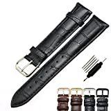 ZLIMSN Leather Watch Band Strap Replacement for Men and Women (Black/Brown)