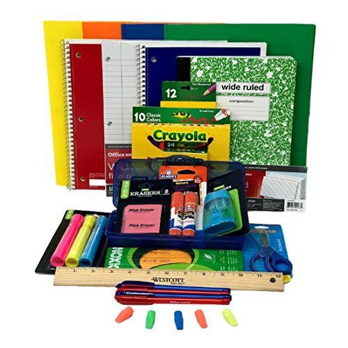 Elementary School Supply Pack for Boys 26 Pieces , Kindergarten, 1st, 2nd, 3rd, 4th, 5th and 6th Grades -