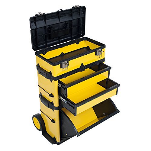 Stackable Toolbox Rolling Mobile Organizer With Telescopic