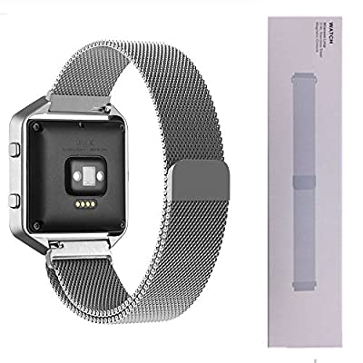 Fitbit Blaze Bracelet, iWooplus Milanese Loop Stailess Steel Bracelet Strap for Fitbit Blaze Smart Fitness Watch with Unique Magnet Lock and Premium HD Tempered Glass Screen Protector
