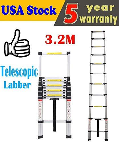 SIKY 10.5FT Telescoping Ladder Multi-Purpose Aluminium Telescopic Ladder Extension Extend Portable Ladder Foldable Ladder, EN131 Certified, 330LB Capacity