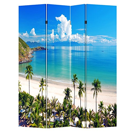 Toa 4 & 6 Panel Office Wood Folding Screen Decorative Canvas Privacy Partition Room Divider - Beach Huts (4 Panels) ...