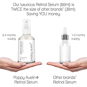 Retinol Serum by Poppy Austin - DOUBLE SIZED 2 oz - 2.5% Retinol, Vitamin E, Hyaluronic Acid & Organic Jojoba Oil - Best Anti Ageing Serum for Face, Neck & Under Eye Wrinkles 2016