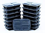 BlacWare [15 Pack] Meal Prep 3 Compartment Food Storage Containers Durable BPA Free Plastic Reusable Microwave & Dishwasher Safe w/ Airtight Lid For Portion Control & 21 Day Fix Weight Loss Fitness
