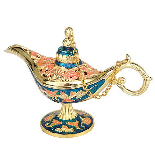 Jeteven Aladdin Lamp Magic Genie Lamp Hollow Carved Zinc Alloy Wishing Light Wish Pot for Incense Burner Oil Wishing Lamp Home Decor Gold