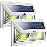 JUSLIT Motion Sensor Outdoor 74 Light Sources COB LED Solar Light, Super Bright, with Wider-Angle Lighting Panel, Wireless Waterproof Security Lights for Garage, Pathways, Backyard(2PK)