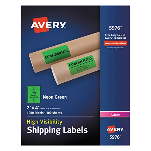 (Avery High-Visibility Neon Green Shipping Labels for Laser Printers 2 x 4, Box of 1,000 (5976))