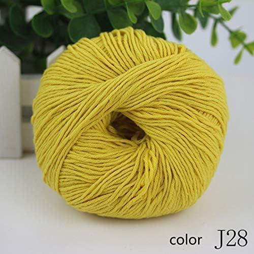 耐久性 毛糸 編み糸 中厚 ハンドシリーズ 綿糸 子供用 かぎ針編み 1/3.0NM 1玉約50g 10玉セット 多色選択可 快適な (Color : Col J28, UnitCount : 20 balls)