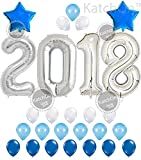 """Arts & Crafts : KATCHON 032 2018 Balloons, Silver and Blue Kit-Large 40"""" 