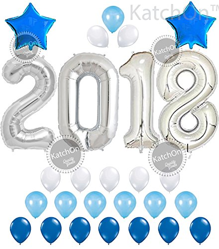 """KATCHON 032 2018 Balloons, Silver and Blue Kit-Large 40"""" 