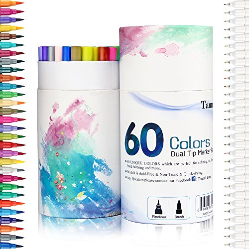 60 Dual Tip Brush Pens Art Markers, Fine liner Brush Tip Double Colored Pens Set for Adult Coloring Books Bullet Journal Note Taking Drawing Planner Art Project by TANMIT