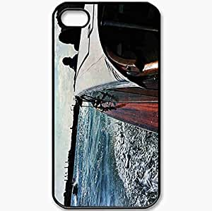 Protective Case Back Cover For iPhone 4 4S Case Venice Boat Water Sun Grand Canal Black