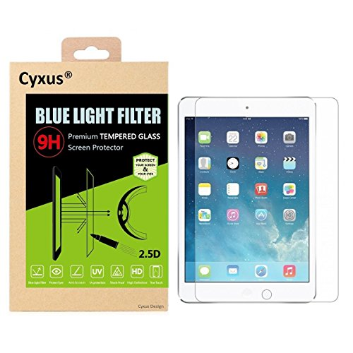 Cyxus Blue Light UV Filter [Sleep Better] 9H Tempered Glass Screen Protector for Apple iPad Pro 9.7