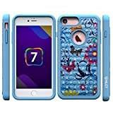 iPhone 8 Case, iPhone 7 Case, HLCT Soft Interior Silicone Bumper & Hard Shell Solid PC Back, Shock-Absorption Anti-Scratch Hybrid Dual-Layer Cover (Blue Flower)