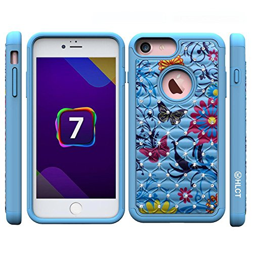 iPhone 7 Case, [4.7 Inch] by HLCT, Soft Interior Silicone Bumper & Hard Shell Solid PC Back, Shock-Absorption & Skid-Proof, Anti-Scratch Hybrid Dual-Layer Slim Cover (Blue Flower)