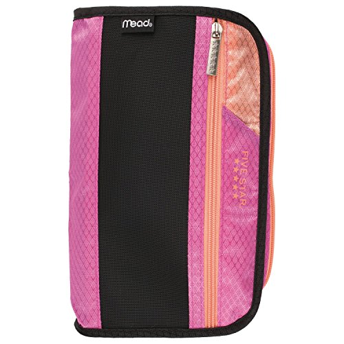 Five Star Pencil Pouch, Pen Case, Fits 3 Ring Binders, Xpanz, Pink/Coral (50206CD8) ()