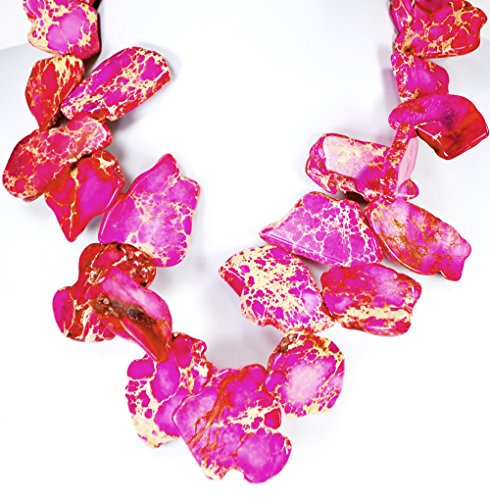 (Pink Jasper Nugget Necklace with Silver Tone Toggle 18