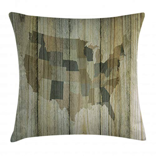 "Ambesonne Rustic Map Throw Pillow Cushion Cover, USA America Map Silhouette Over Vertical Timber Wooden Textured Background Print, Decorative Square Accent Pillow Case, 16"" X 16"", Brown"
