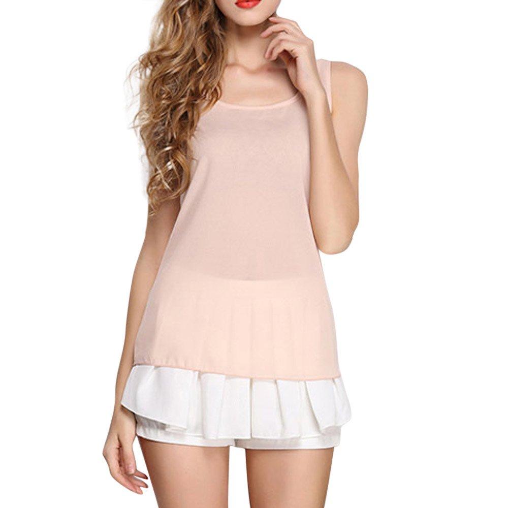 JFLYOU Basic Tank Top for Women,Loose Chiffon Sleeveless O Neck Solid Shirt Tops(Beige,XXL)