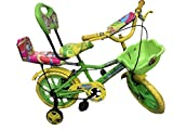 Rising India 14' Green Kids Bicycle For 3-5 Years Double Seated With Basket And Side Wheel. (Green)