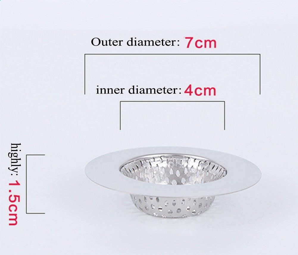 7 cm argento Kentop scarico colino in acciaio inox cucina lavello vasca da bagno doccia scarico lavello filtro per bagno e cucina,2/pezzi Acciaio INOX