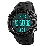 Cofuo Waterproof Electronic Luminous Multifunction Black Digital Sports Mens Watch