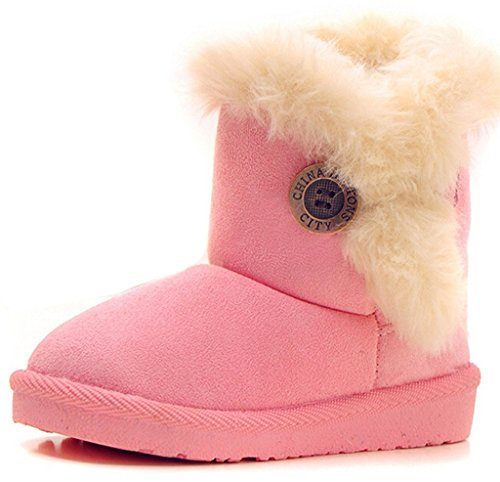 Doris Kids Fur Line Bailey Button Boots For Boy Girl Winter Snow Boots Pink EU - Pink Boots Winter Snow