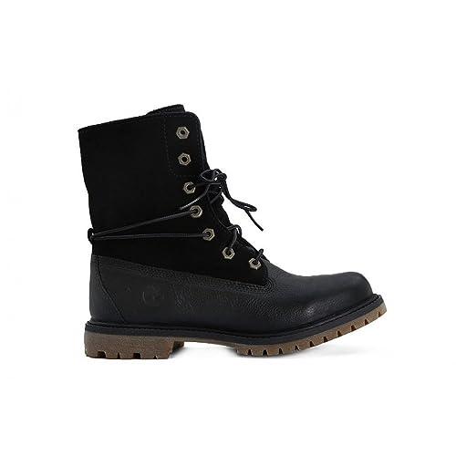 TIMBERLAND A18PQ black nero scarpe donna scarponcini risvolto pelle 38   Amazon.it  Scarpe e borse c863bc73688