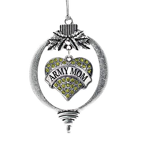 Inspired Silver - Army Mom Charm Ornament - Silver Pave Heart Charm Holiday Ornaments with Cubic Zirconia Jewelry