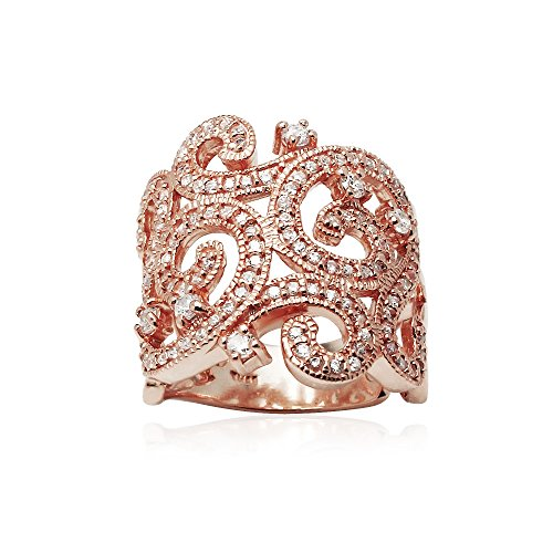 Rose Gold Flashed Sterling Silver Cubic Zirconia Filigree Fashion Statement Ring, Size 8 (Ring Swirl Birthstone Silver Family Sterling)
