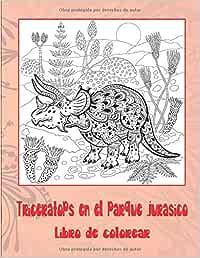 Triceratops en el parque jurásico - Libro de colorear