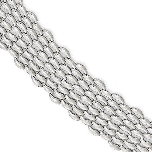 Argent Sterling poli Bracelet fantaisie 7,5 cm-JewelryWeb