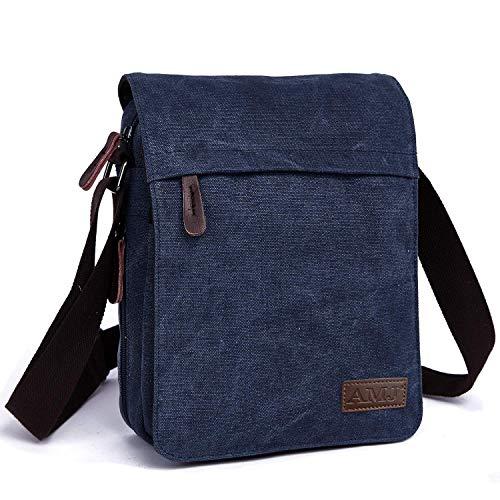 AMJ Canvas Messenger Bag, Sling Bag Crossbody Shoulder Bags for Travel Work Business Men Women, Blue