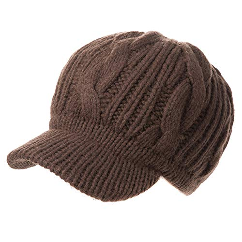 Fancet Womens 100% Merino Wool Knit Visor Beanie Newsboy Cap Winter Cotton Lined Hat Cold Snow Girl Brown