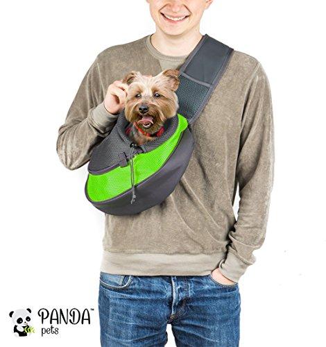 Pet Sling Carrier by Panda Pets - Small Dog Cat Sling Pet Carrier Bag Safe Reversible Comfortable Machine Washable Adjustable Pouch Single Shoulder Carry Tote Handbag for Pets Below 9.9 lb(Green)