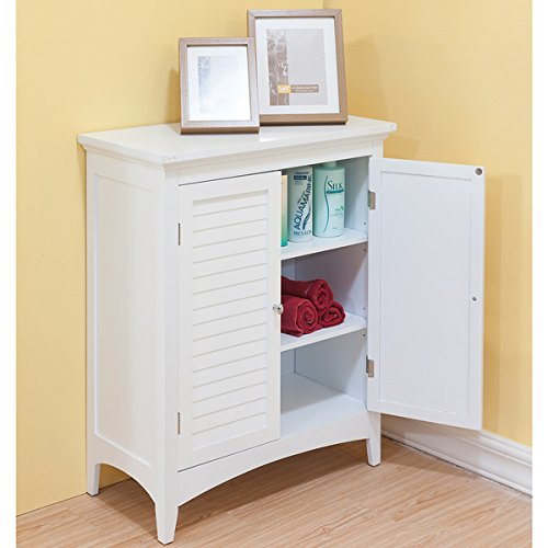 (Bayfield White Double-door Floor Cabinet by Elegant Home Fashions)