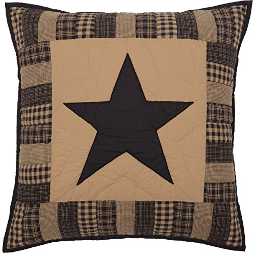 VHC Brands Primitive Bedding Black Check Star Quilted Euro Sham ()