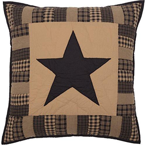 VHC Brands Primitive Bedding Black Check Star Quilted Euro Sham,