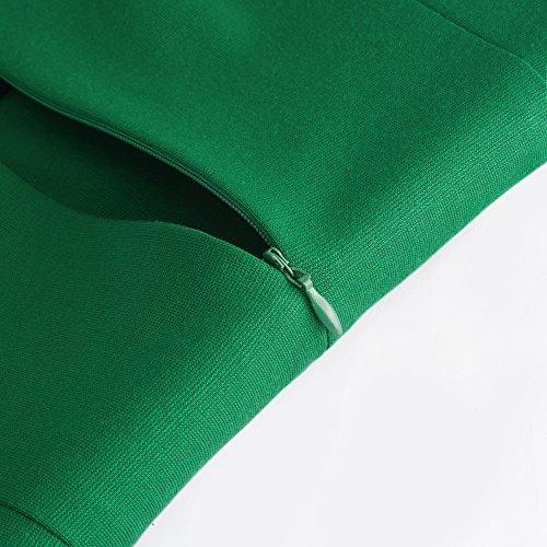 HOMEYEE Mujer Vintage 1950 sin mangas de cuello redondo con encaje Patchwork Bodycon Flare rodilla vestido de longitud A046 Verde