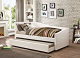 iDealBed Le Vue Modern Upholstered Curved Daybed with Roll-Out Trundle, Twin, Ivory For Sale