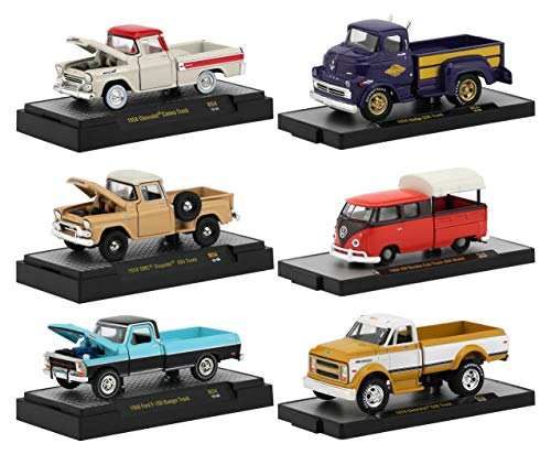 Auto Trucks 6 Pickup Trucks Set, Release 54 in Display Cases 1/64 Diecast Model Cars by M2 Machines 32500-54