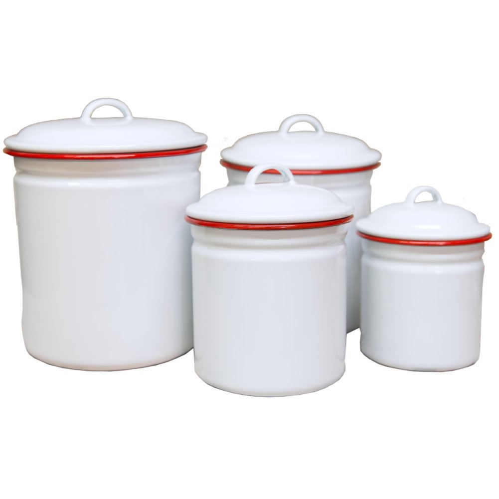 amazon com enamelware 4 piece canister set solid white with red amazon com enamelware 4 piece canister set solid white with red rim kitchen dining