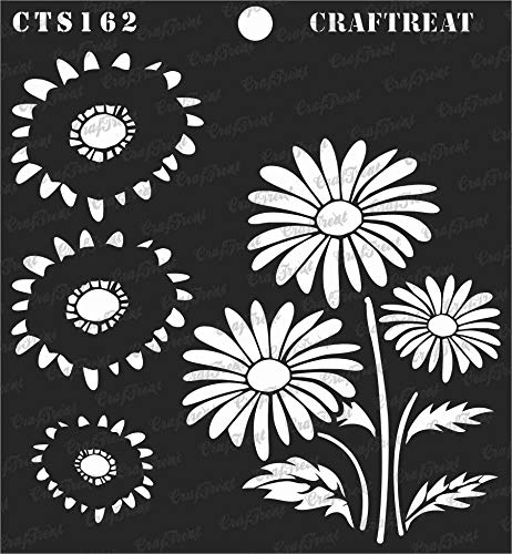 CrafTreat Stencil - 2 Step Layered Daisy | Reusable Painting Template for Journal, Home Decor, Crafting, DIY Albums, Scrapbook, Decoration and Printing on Paper, Floor, Wall, Fabric, Wood 6