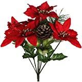 """(Pack of 4) Christmas House 7-stem Poinsettia Bushes with Pinecones, 12½"""" (Red Poinsettas)"""
