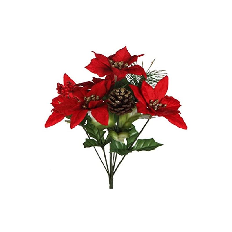 """silk flower arrangements (pack of 4) christmas house 7-stem poinsettia bushes with pinecones, 12½"""" (red poinsettas)"""