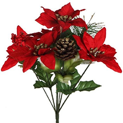 (Pack of 4) Christmas House 7-stem Poinsettia Bushes with Pinecones, 12½