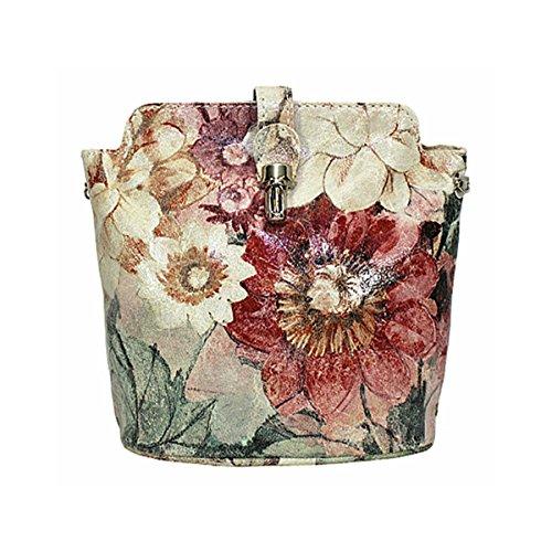 cruzados Bolso blanco small para Floral Vintage cuero de mujer blanco Benagio a5wSHH